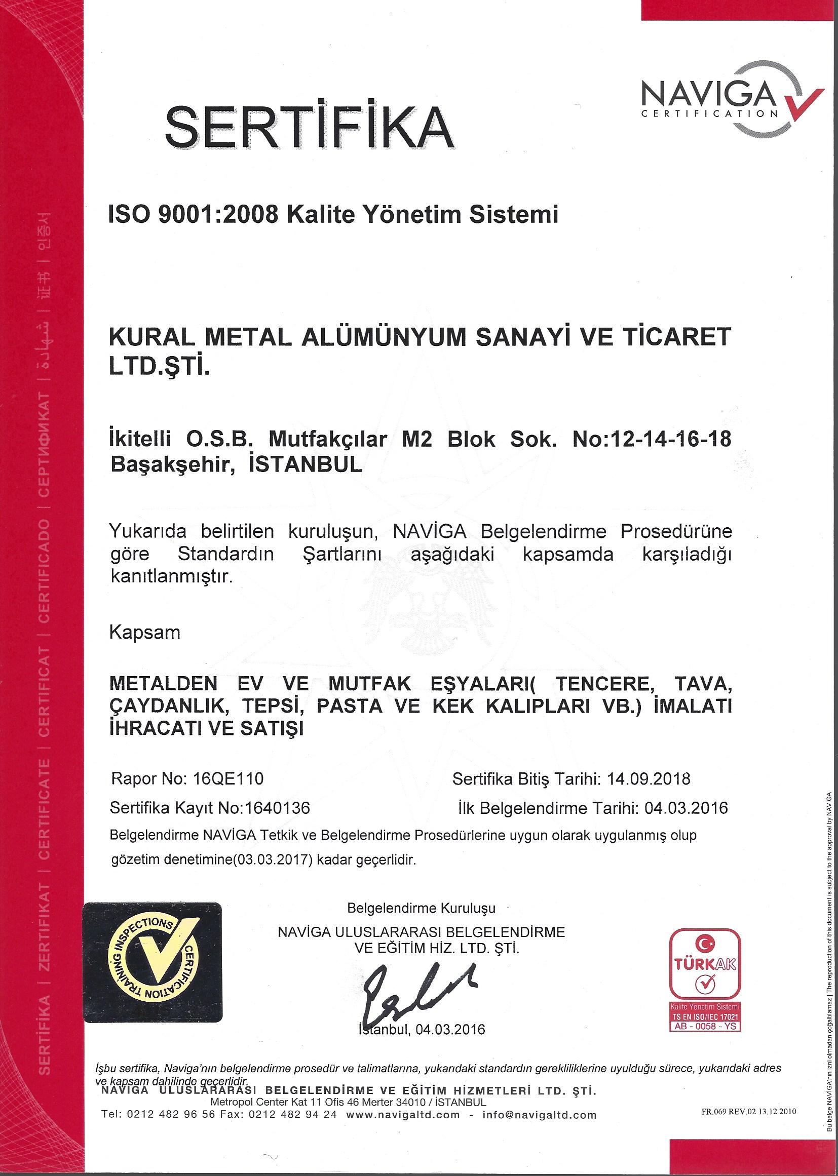 Brioni ISO 9001:2008 Kalite yonetim sistemi sertifikasi